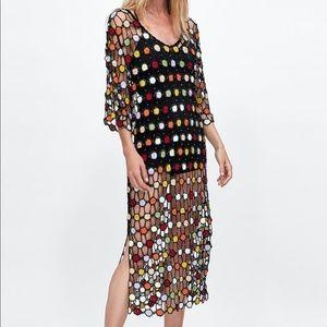Zara Multicolor Crochet Dress NWOT